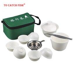 11 adet Set çin taşınabilir Kung Fu çay seti, porselen servis Gaiwan çay fincanları kupa çay töreni demlik, seramik seyahat çay fincanı