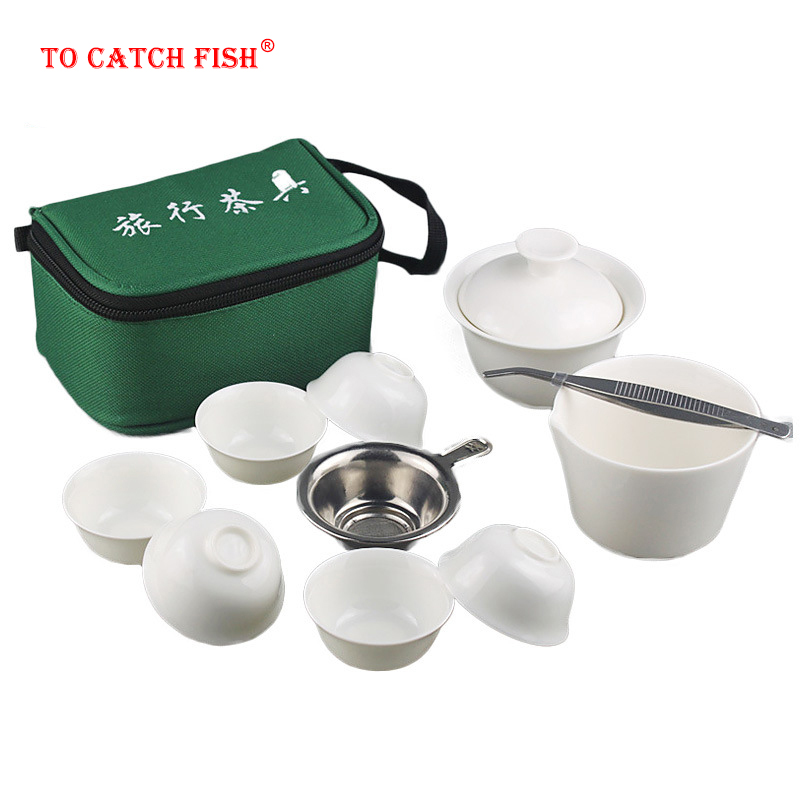 11pcs Set Chinese Portable Kung Fu Tea Set,Porcelain Service Gaiwan Tea Cups Mug Of Tea Ceremony Teapot,Ceramic Travel Teacup