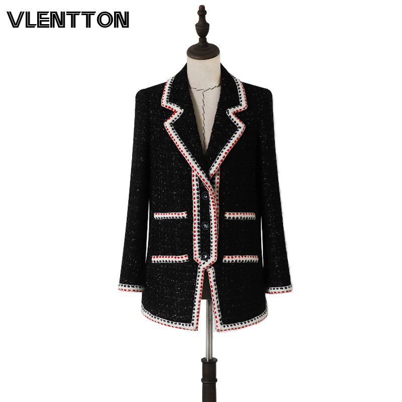 Spring Autumn Heavy Vintage Plaid Woolen Tweed Jackets And Blazers Women Chic Button Coat Female Outwear Office Blazer Feminino
