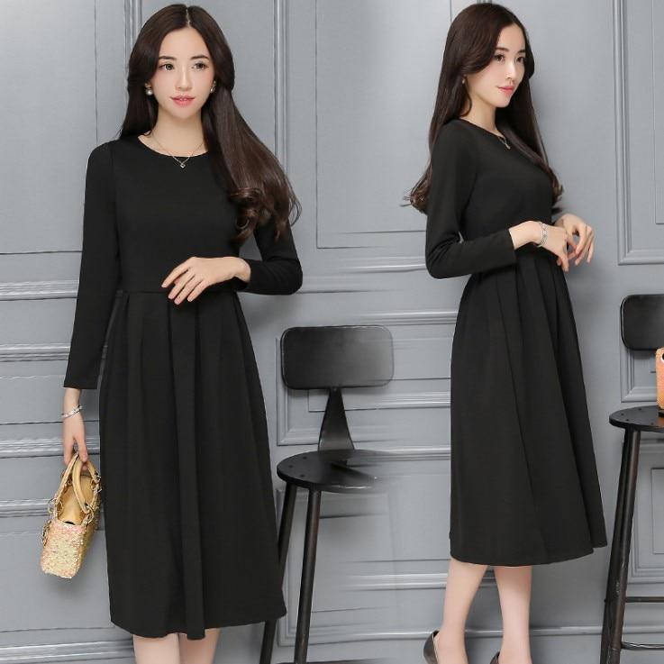Celebrity Style French Retro Hepburn 2019 Summer New Style Long-sleeved Dress Female Black Long Slimming High-waisted Long Skirt