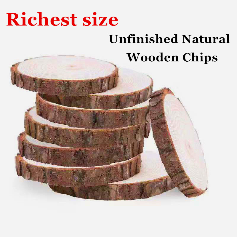 Wood-Slices Craft-Decorations Wooden-Tag Gift Unfinished Round Wedding 20CM Natural Large title=