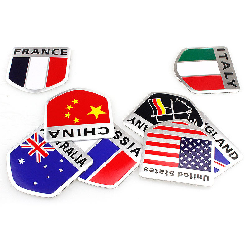 Flag Aluminum Alloy Labeling Modified  Stickers Patriotic Flag Metal  Adornment 3D Scratch Screening Side Label Luggage Accessor