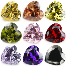 Size 4x4~10x10mm 5A Grade Heart Shape  Loose Red Color Pink Yellow Cubic Zirconia Stone