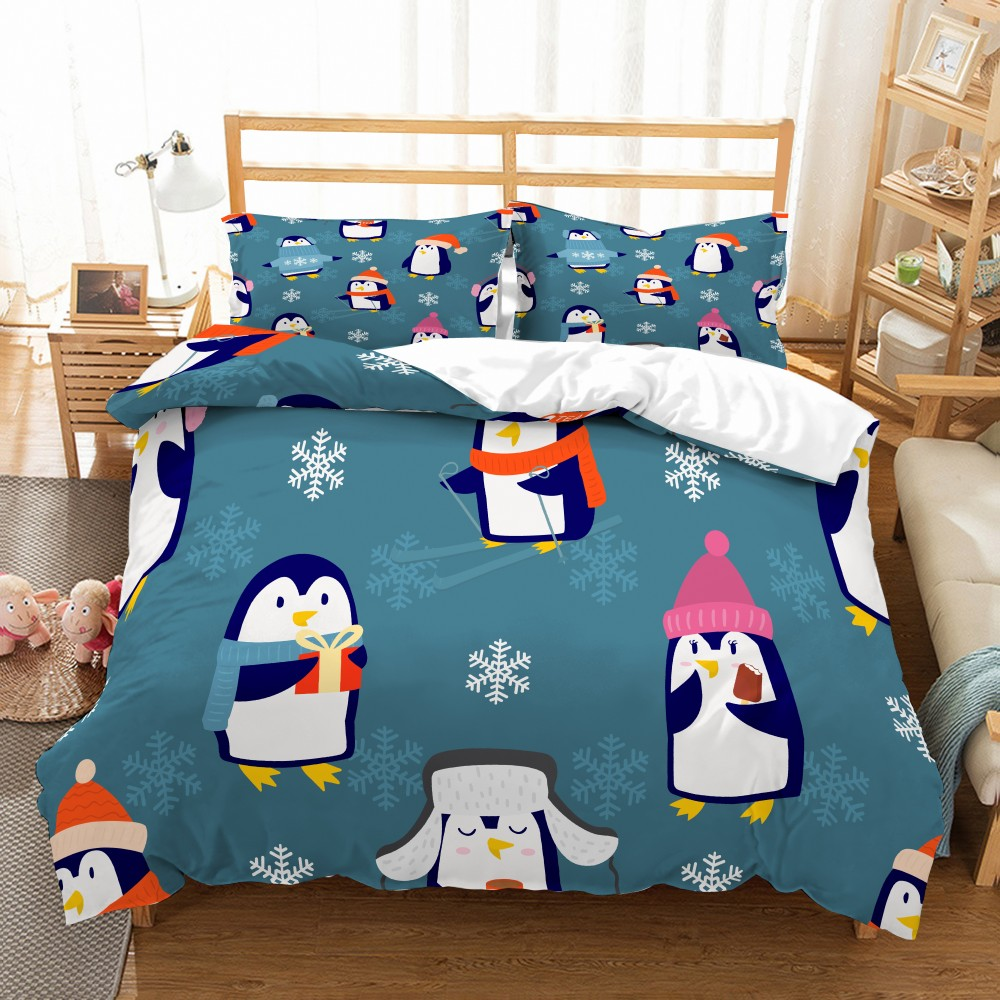 Cartoon Penguin Duvet Cover Set Christmas Animal Happy Together Bedding Soft Microfiber Bed Sets Pillowcase Twin Queen King Size