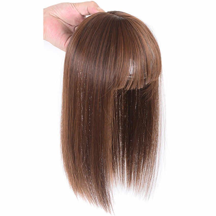 Pelucas de mujer Gros rectas largas con flequillo de pelo de alta temperatura de fibra marrón/negro fino pelo sintético piezas de cuero cabelludo/tupé felmasculino