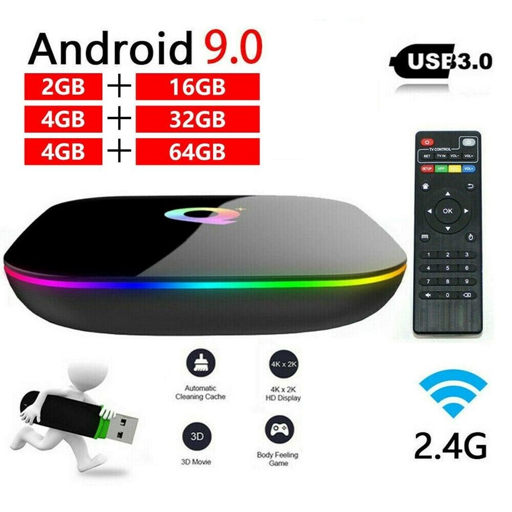 ТВ-приставка Q plus, Android 9,0, 4 + 16/32/64 ГБ, 1080P, H.265, 4K, 2,4G