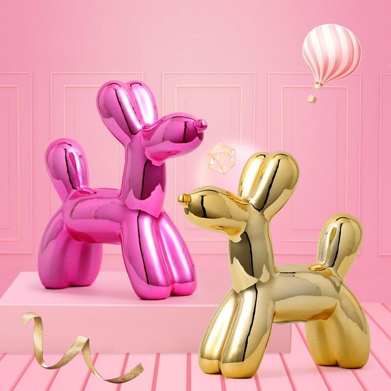 Art moderne abstrait ballons chien tirelire Statue Jeff Koons brillant ballon chien Figurine céramique artisanat décoration de la maison R3590