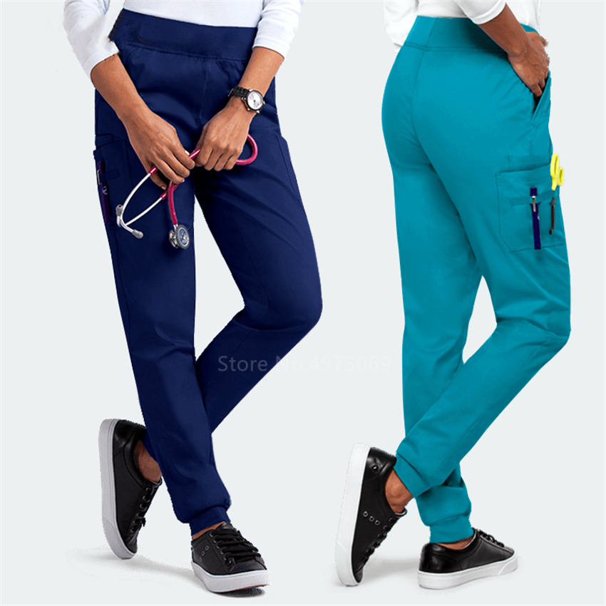 Scrubs Medical Uniform Women Pants Nurse Costume Hospital Doctor Loose Trousers Elastic Side Pocket Pants Surgery Lab Work Wear