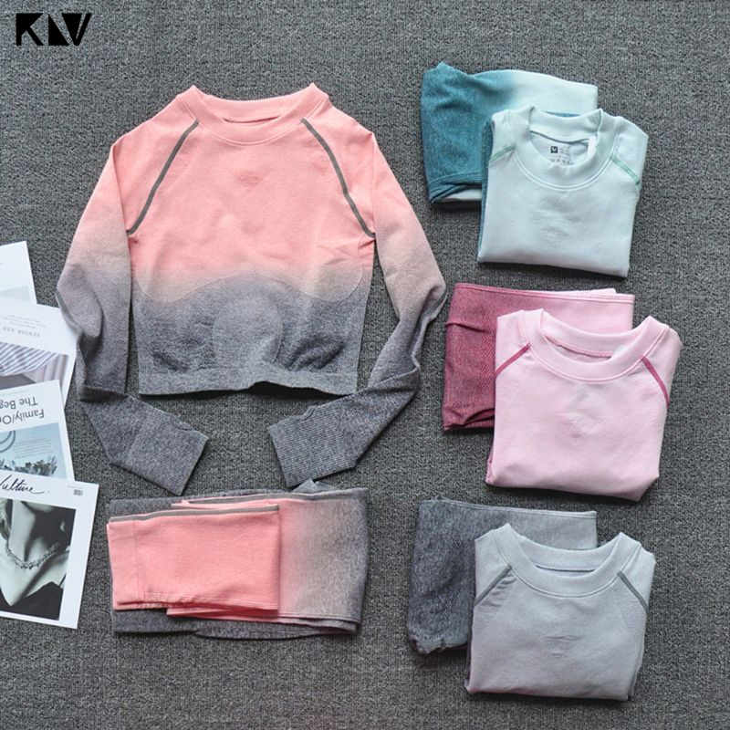 Klv Vrouwen Twee Stukken Set Fitness Leggings Ombre Naadloze Crop Tops Sportkleding Sweatshirt Trainingspak Sets