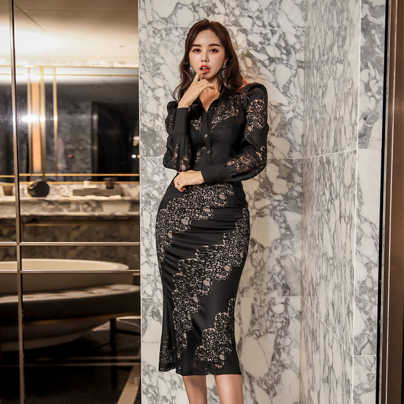 WOMEN'S Suit 2020 Spring Clothing New Style High Cold Royal Sister-Style Mature Elegant Two-Piece Set Lace Joint Sexy Dress