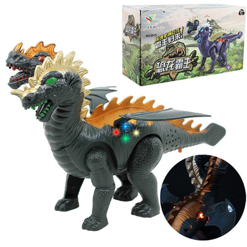 Two Head Electric Light Sound Dinosaur Toys Boy Toy Gift Jurassic