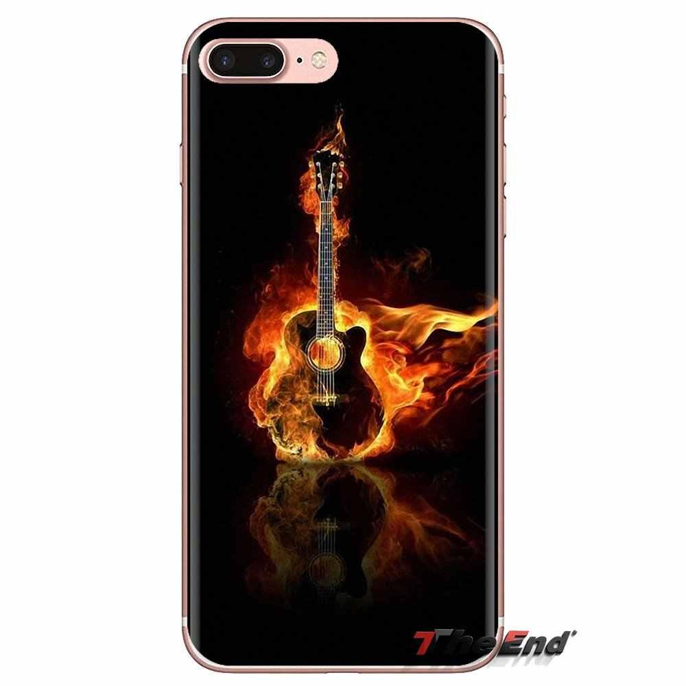 Suave transparente para Xiaomi mi 4 mi 5 mi 5S mi 6 mi A1 A2 5X6X8 9 Lite SE Pro mi Max mi x 2 3 2S agua y fuego de guitarra patrón
