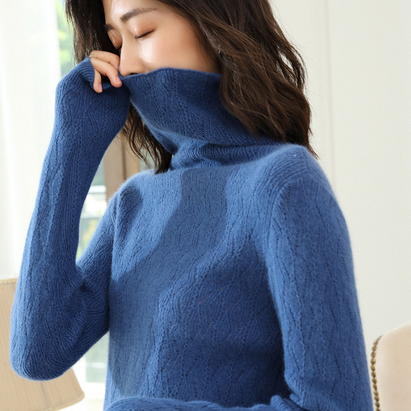 New Arrival Women Sweater 100% Cashmere Knitted Pullovers Ladies Jumpers 4colors Turtleneck Print Standard Clothes