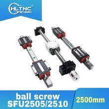 Tornillo de bola SFU2505/2020 2510mm BKBF20, eje Y, mecanizado de extremo de 20mm, juego de HGR20 2500mm de riel lineal para enrutador CNC, promoción de 2500