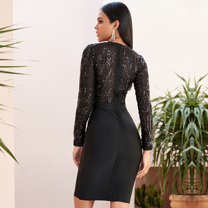 Image 2 - Winter Autumn Women Black Lace Sequined Hollow Out Long Sleeve Evening Elegant Dresses Spring Night Party Sexy Bandage Vestidos