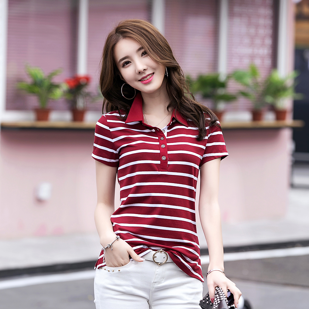 MiiKLN Women Polo Shirt 90% Cotton Collar Stripped 22 Colors Short Sleeves Polo Shirt For Women Plus Size M To 4XL Ladies Polo