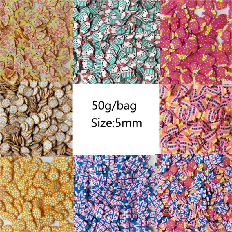 50G Mini Kue Pizza Jagung Tanah Liat Polimer Slice Taburan untuk DIY Kerajinan Tangan Kecil Cute Donuts Hadiah Plastik Klei Lumpur partikel: 5 Mm