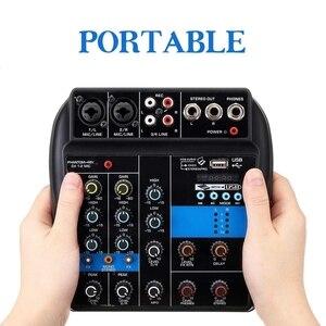 Image 4 - Portátil 4 canales Usb Mini consola mezcladora de sonido amplificador de Audio Bluetooth 48V Phantom Power PARA Karaoke Ktv Match Part