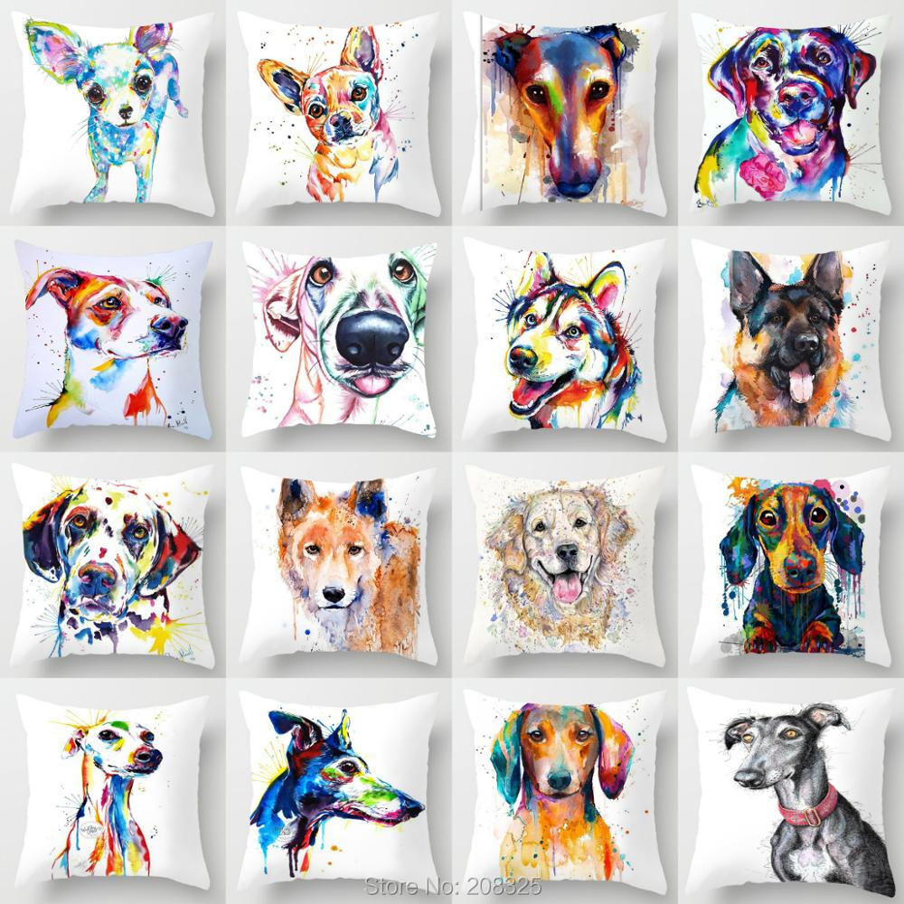 ZENGIA Watercolor Greyhound Pillow Cover 45x45cm Decorative Cushion Cover Dog Pillow Chihuahua German Shepherd Husky Pillowcase