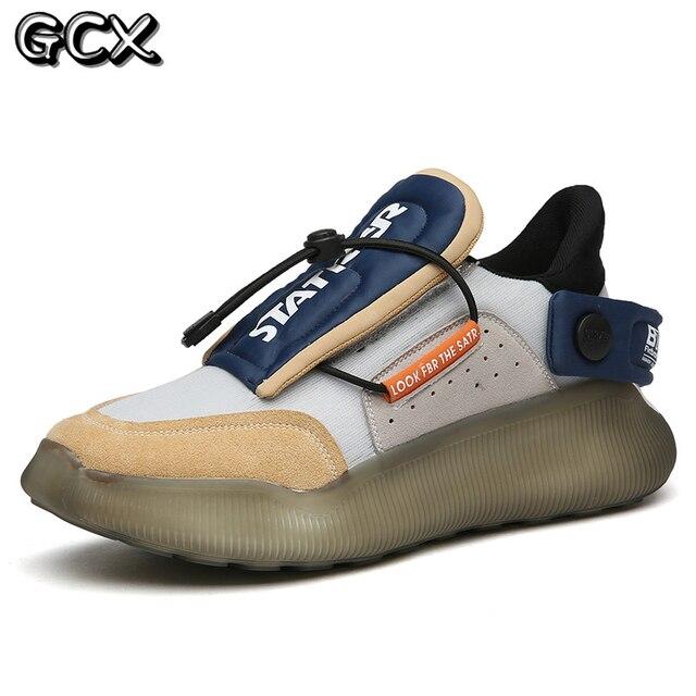 Zapatillas de deporte informales antideslizantes para hombre, calzado de Tenis con plataforma de cuero de malla transpirable, novedad de verano de 2021 5