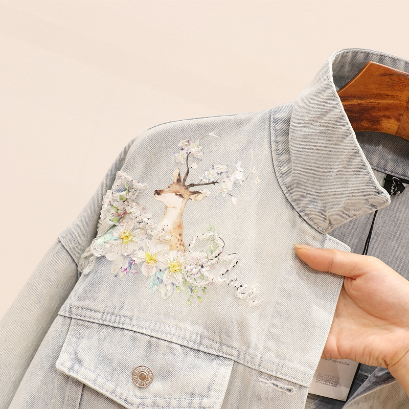 European Station 2020 Spring New Heavy Industry Nail Bead Printing Fawn Hole Denim Jacket Female Loose Jacket Tops women Jackets