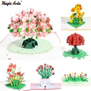 Pop-Up Flower Card Flora 3D Greeting Card for Birthday Mothers Father's Day Graduation Wedding Anniversary Get Well Sympathy