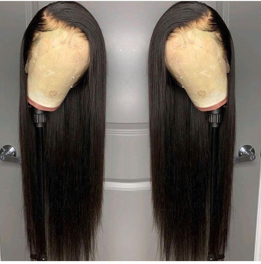 Dentelle avant perruques de cheveux humains pour les femmes noires brésilien naturel tout droit courte longue dentelle frontale afro perruque 28 30 pouces preplumé - 4