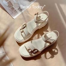 Beauté sandálias plataforma de couro bovino feminina, sandália gladiadora plataforma de metal fivela tornozelo correias para mulheres verão 38156