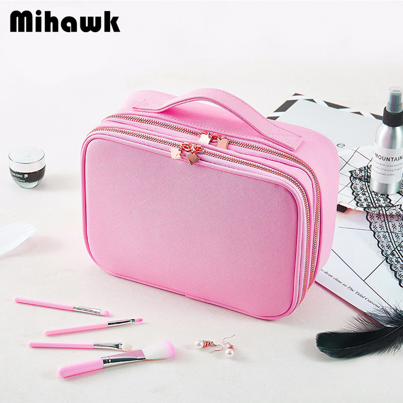 Mihawk Women's Double Layer Cosmetic Bag Makeup Tool Case Beauty Essential Eyelash Brush Storage Box Organizer Accessories Stuff