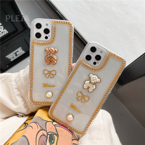 Image 5 - Luxury Glitter Pearl Case For iphone 12 mini 11 Pro Max X XR XS Max SE 2020 7 8 plus Clear Cover Cute 3d Bear Phone Cases Capa