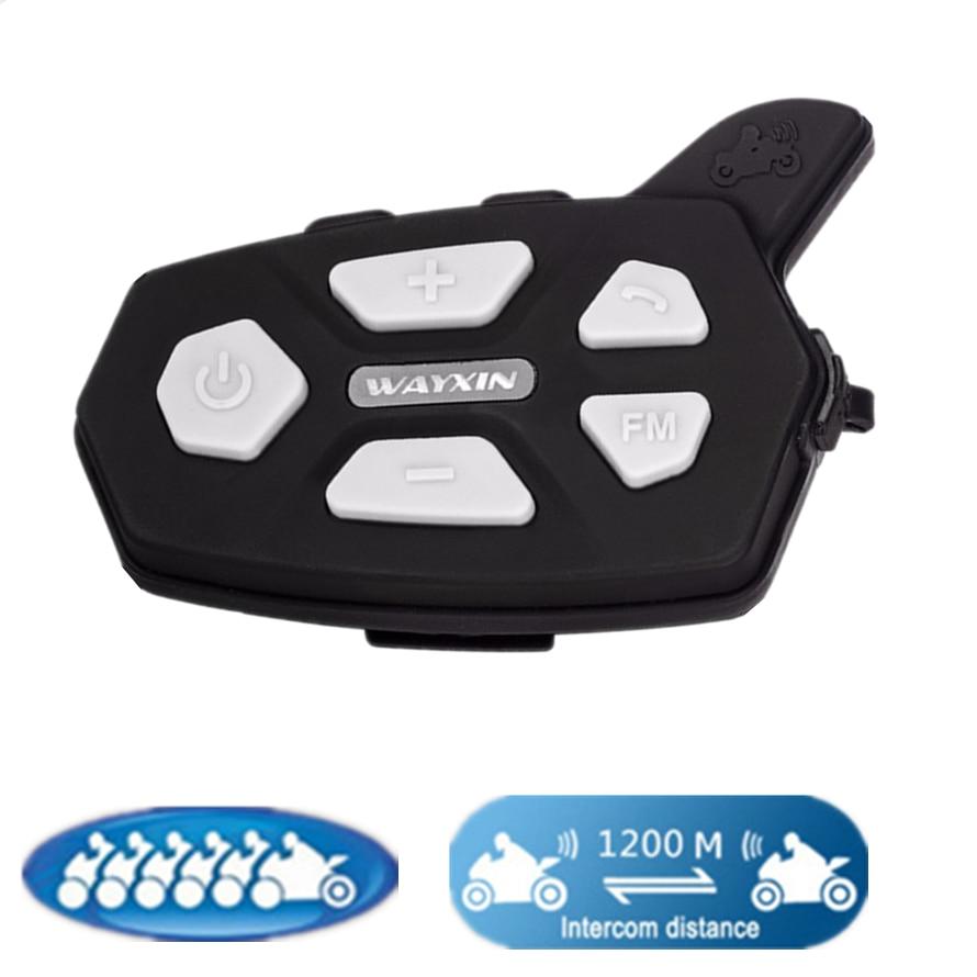 2019 New 1PCS R5 1200M Motorcycle Bluetooth Helmet Headsets Intercom For 6 Riders BT Wireless Intercomunicador Interphone MP3