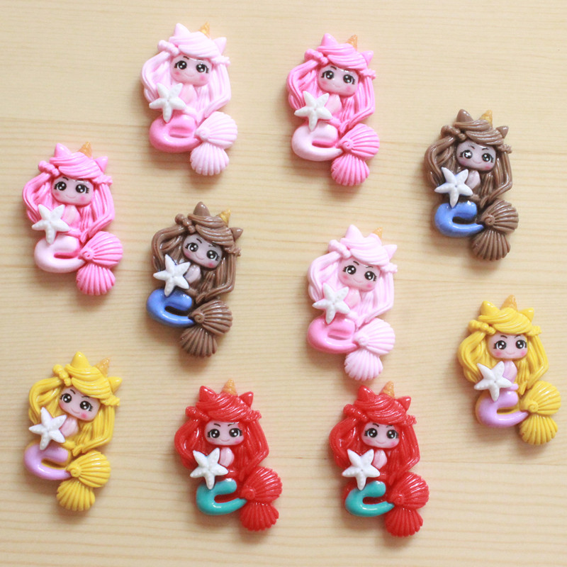 10Pcs Cartoon Resins Characters Flatback Resin Cabochon Kawaii Mermaid Princess Cabochons DIY Scrapbook Hair Bows Center 24*33mm