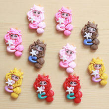 10 sztuk Cartoon żywice postacie Flatback żywica Cabochon Kawaii syrenka księżniczka Cabochons album do scrapbookingu diy kokardy do włosów centrum 24*33mm(China)