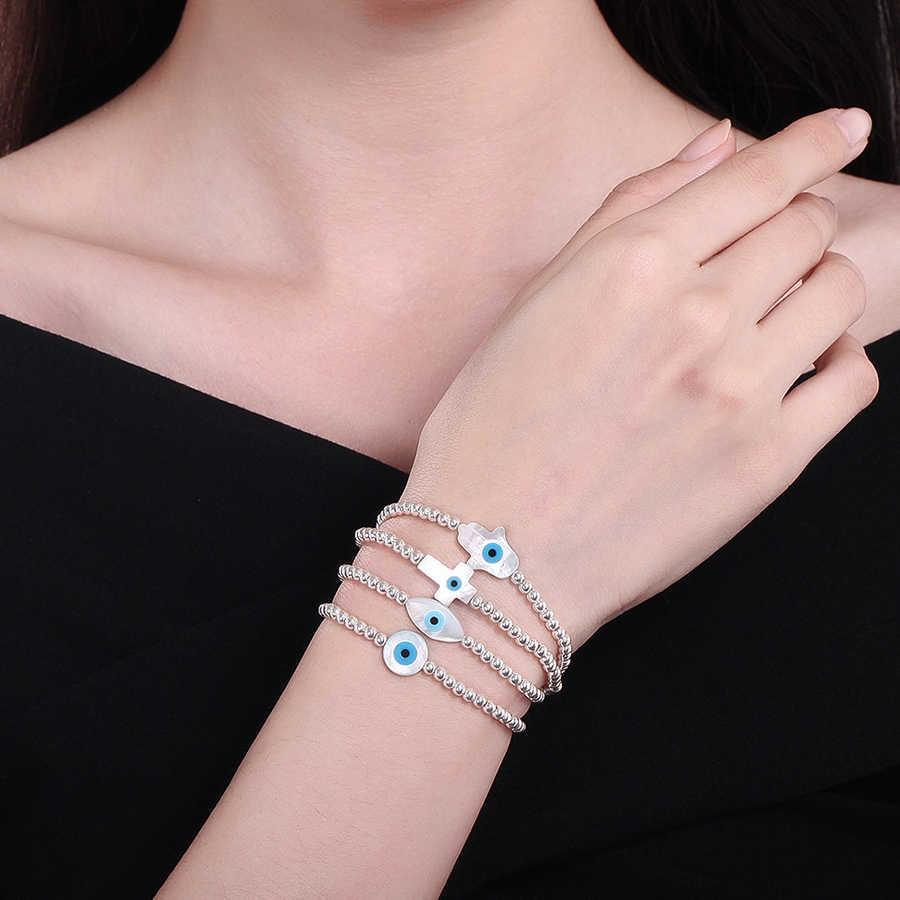 KALETINE moda 925 srebro koraliki bransoletki MOP Shell Hamsa ręka fatimy złe oko krzyż szczęście turecki Charm bransoletka