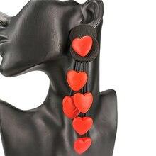UKEBAY-pendientes de gota góticos para mujer, pendientes largos y grandes de goma, joyería hecha a mano, accesorios de madera roja, joyería de boda al por mayor