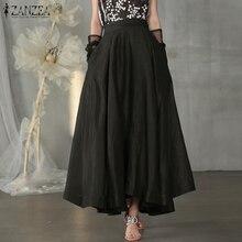 Maxi Skirts ZANZEA High-Waist Sundress Solid-Robe Pleated Plus-Size Women's Stylish Casual