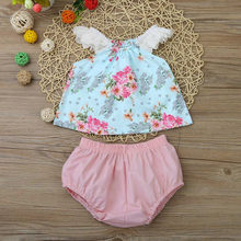 Mode baby meisje kleding baby sets katoen o-hals Peuter Meisjes Baby Baby Bloemen Kant Tops + Shorts Kleding Outfit Set pak(China)