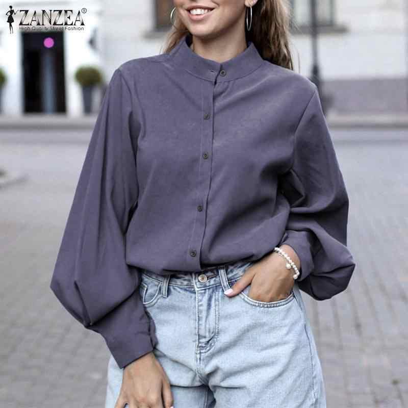 Zanzea Vrouwen Tops Blouse Eleagnt Lady Werk Chic Shirt 2020 Mode Vrouwelijke Lantaarn Mouw Knop Tuniek Blusas Chemise Plus Size