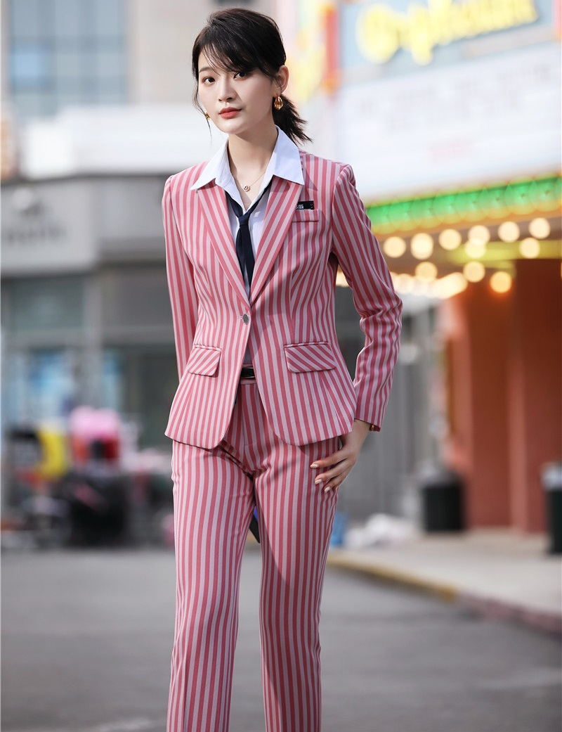 Fashion Striped Formal Women Business Suits With Pants And Jackets Coat Uniform Designs Pantsuits Autumn Winter Ladies Blazers