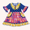 TUTU AND LULU Red ABC printing flowers pink Girls dress with buttons