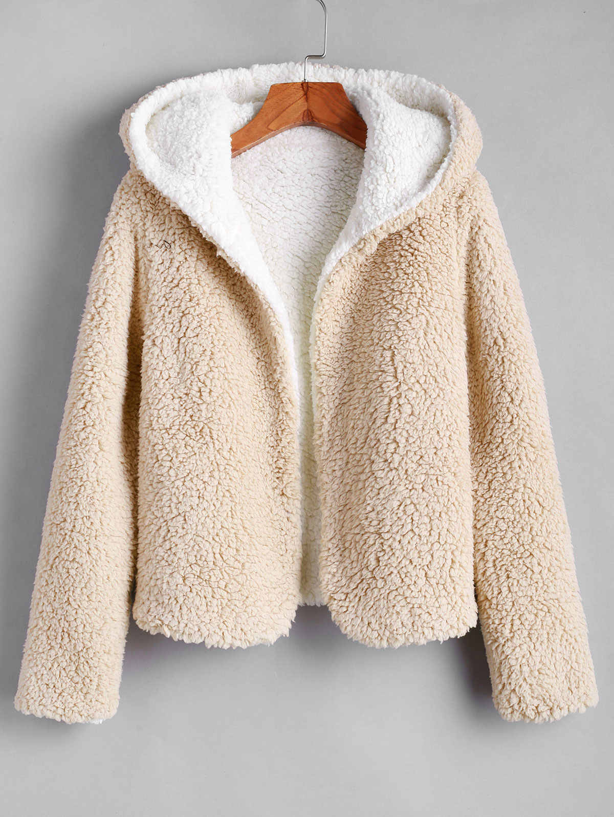 best website great fit catch ZAFUL X Alexis Ricecakes Hooded Reversible Teddy Coat Open Front ...