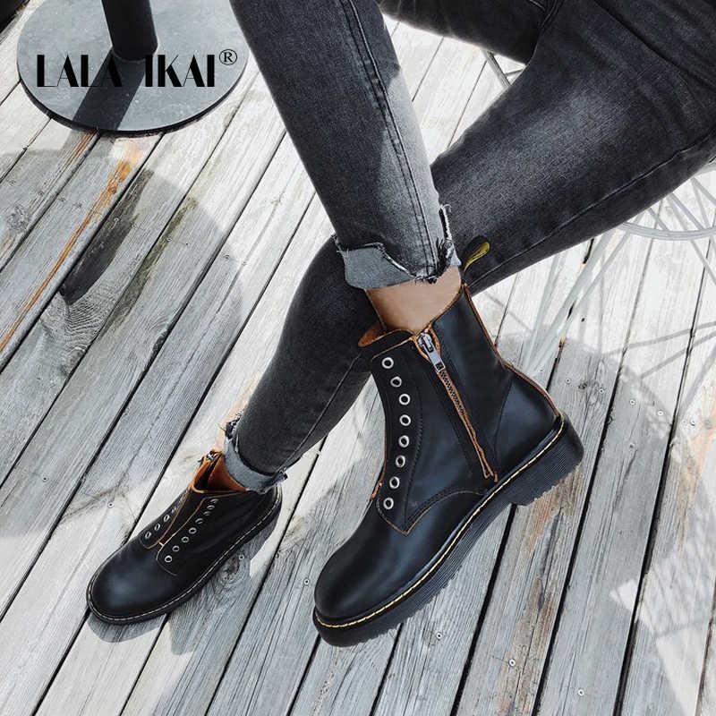 LALA IKAI çizmeler kadın kış PU deri sıcak ayakkabı rahat fermuar platformu yarım çizmeler kadın siyah zapatillas mujer XWA8435-4