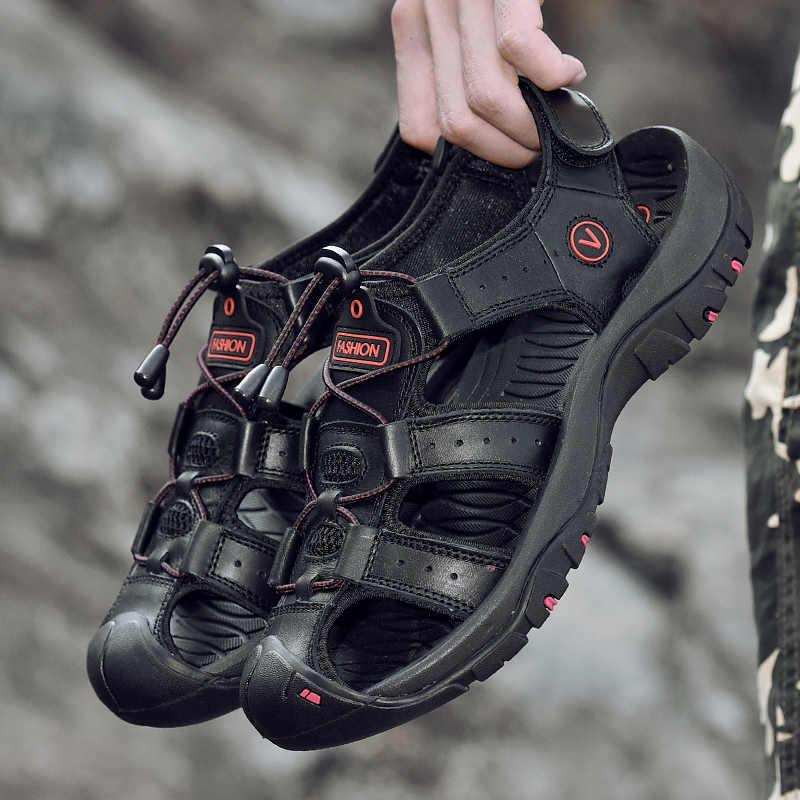 Homens sandálias de couro genuíno sapatos casuais ao ar livre sandálias de couro para homens sapatos de praia sapatos romanos plus size 38-48
