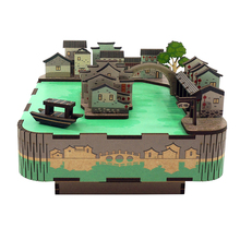Wooden DIY Music Box Kit Handmade Miniature Ancient Jiangnan Water Town Building Dollhouse Toys Girls Gifts Home Decoration