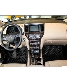lsrtw2017 leather car floor mat for Nissan Pathfinder 2013 2014 2015 2016 2017 2018 2019 2020 rug carpet 7 seats