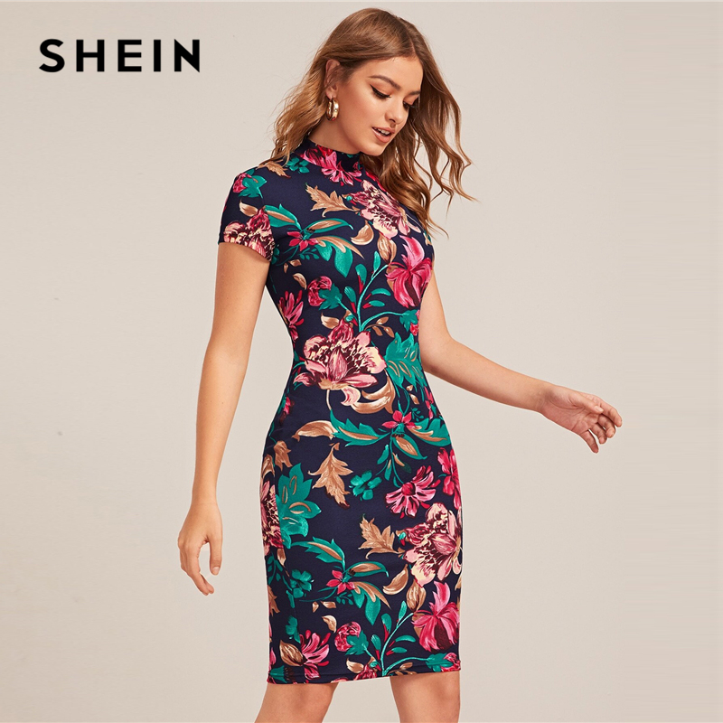 SHEIN Multicolor Mock-Neck Form Fitted Floral Print Dress Women Spring Cap Sleeve Bodycon Elegant Pencil Midi Dresses 2
