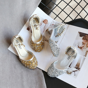 Image 5 - Kids Princess Shoes for Girls Mary Jane Sandals Low Heel Sparkle Rhinestone Dance Shoes 2020 Children Girl Party Dress Shoes