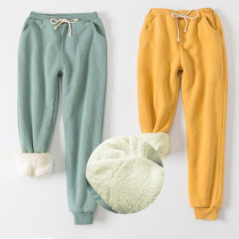 Winter Cashmere Harem Warm Pants Women's Velvet Thick Lambskin Pants For Women Loose Winter Causal Women Trousers Warm