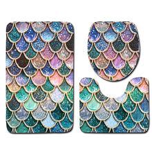 Fish scale series bath mats colorful 3d printed carpet toliet