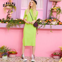 ELF SACK Rainbow Striped Slim Fit Casual Knitted Dress Women Green 2019 Autumn Korean Fashion Black Office Ladies Dresses